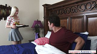 Tempting blonde Niki Snow gives her head and rides a dick face to face