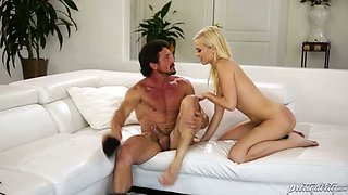 Beautiful fresh faced babe Alex Grey gives her mature lover a nice BJ