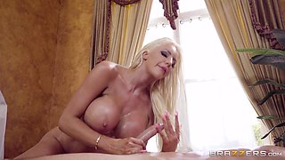 Busty sex queen Nicolette Shea cannot resist a cock ride