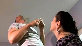 Horny housewife seduces junior electrician