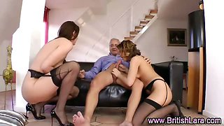 Older British guy and two matures in stockings