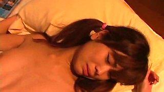 Torrid pigtailed sleeping beauty Ami Hyuuga gets pussy teased