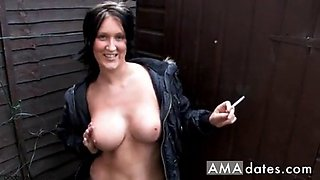 hot set of tits flaunted with a smoke