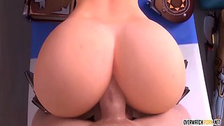 Mercy from Overwatch takes missionary anal pounding