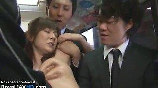 Big tits japanese gangbanged on public bus