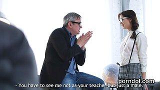 Cuddly schoolgirl is teased and shagged by elderly tutor