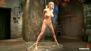 Hot vibration for a suspended sex slave Blake Rose