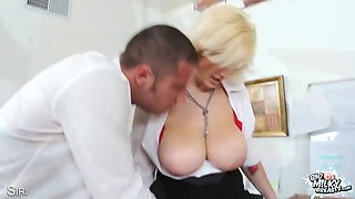 Massive Natural Tit Babe Gets Titty Fucked!