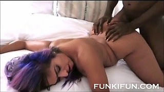 Sexy slut fucked by her black stepbrother