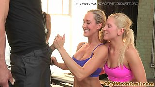 Ripped CFNM fitness babes pounded in foursome