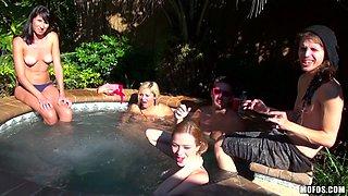 Dirty orgy with Emily Kae, Luna Star and Alaina Fox near the outdoors pool