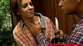 Blindfolded slave punished by her master