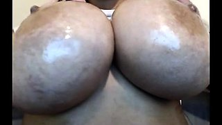 See big oiled boobs with huge nipples