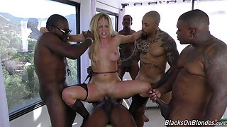 Horniest bunch of guys ever giving the blonde a gangbang experience