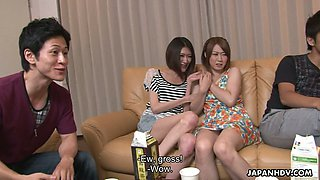 Nasty Asian chick Haruka Sasano takes part in crazy group sex scene