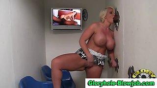 Gloryhole slut facialized by black cock