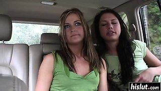 Pretty teens like to strip in the car