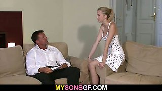 Lovely young blonde falls for her BF\'s dad