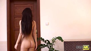 OLD4K. Old dad stretches young chick and cums all over her tummy