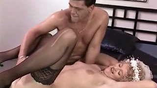 Dirty European bride getting gangbanged on the bed
