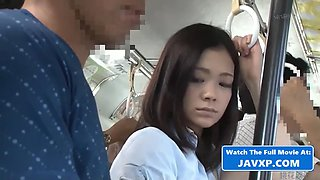 Asian teen hardcore on the busy bus