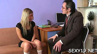 Honey is having wild threesome with stud and old teacher