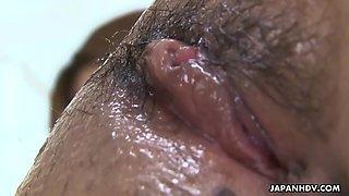 suzu minamoto gets her bushy japanese pussy shaved clean