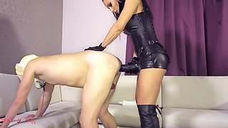 Leather strapon mistress leather fem dom anal facesitting st