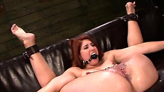 Toys destroys redhead gaping messy cleft in bondage action