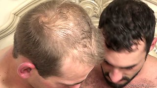 Woken up blond head Trillium gets absorbed with working on two dicks