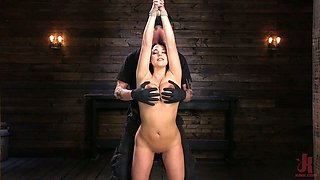 Bondage curvy milf Angela White is fucked and punished in the basement