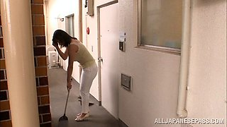Smart Japanese damsel being stripped before giving steamy blowjob in close up shoot