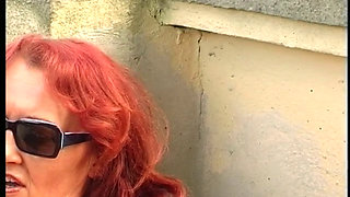 Hungarian Granny outdoors with a fuck machine
