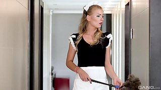 Blonde maid Lucy Heart knows how to take care of a cock