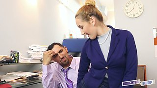 Personal secretary Gigi Flamez gets hammered from behind in the office