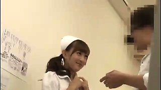 Hot Asian babe in school uniform gives a nice blowjob