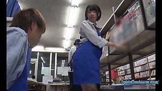 Jav Idol Hikaru Minazuki Ambushed In Book Store Fucks In Her Uniform Around the Store Cute Teen