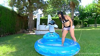 Voluptuous Teen Has Fun In The Inflatable Pool