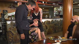 slave disgraced in barcelona public bar