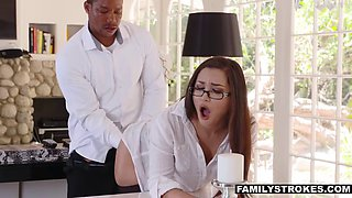 Curvy married secretary gives asshole to her black boss