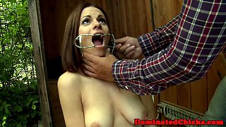 Busty submissive punished and fucked outdoors