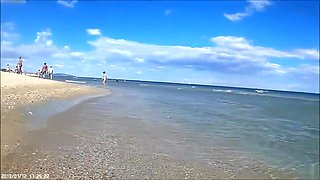 Group of mature mommies and daddies enjoy the nudist beach