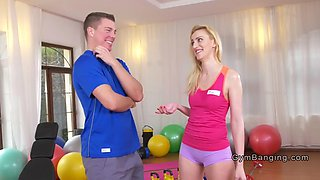 Russian Milf bangs young fitness coach