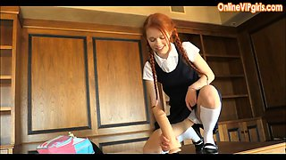 Young School Girl Jumps on Huge Dildo