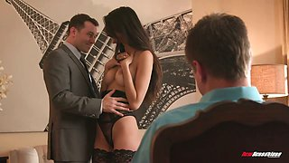 Tantalizing babe Eliza Ibarra gets laid in front of her step daddy