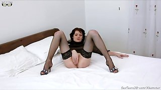 Slim babe inserting bottle into hole and fisting herself