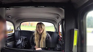 Blonde taxi inspector bangs in fake taxi