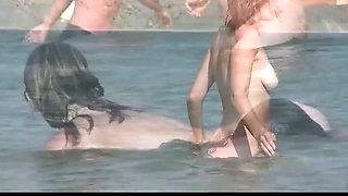 Voyeur girl naked on public beach