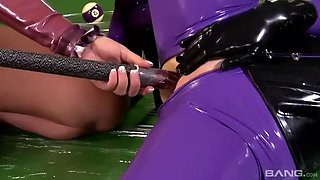 crazy ass lesbians in latex bodysuits latex and black toy their cunts