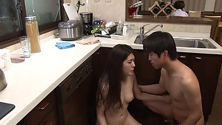 Asian housewife seduction and screw on the kitchen floor